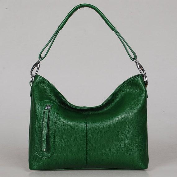 Leather bag Max small green---Adeleshop handmade handbag Messenger Diaper bag Shoulder bag Tote  Hip bag Women