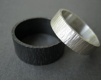 Day & Night Birch Bark Wedding Ring Set - Wide Rustic Heavy Bands in Sterling Silver
