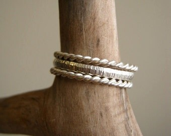 Set of three rings - One hammered half round band and Two twisted bands -Sterling silver
