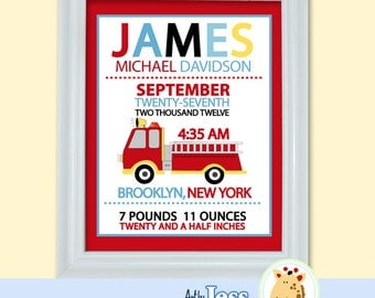 Fire Truck Birth Announcement Print, Personalized Baby Gift (Design 12a)