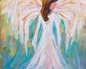 Original Christmas Angel Painting 10 x 8
