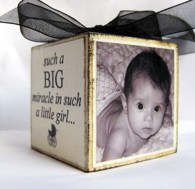 Personalized Baby's First Christmas Ornament Block in