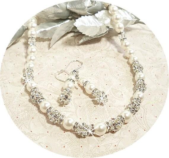 Bridal Jewelry, Necklace Earrings, Rhinestone and Pearl, Sparkly, Glitz, Wedding Jewelry, Wedding Accessories
