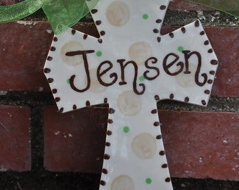 Personalized Baptism Cross in Green and Brown That Comes in Your Color Choices for Christenings or Baby Showers
