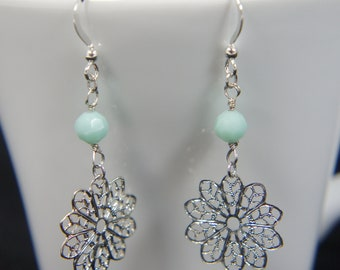Silver flower earrings - mint swarovski, gift, casual