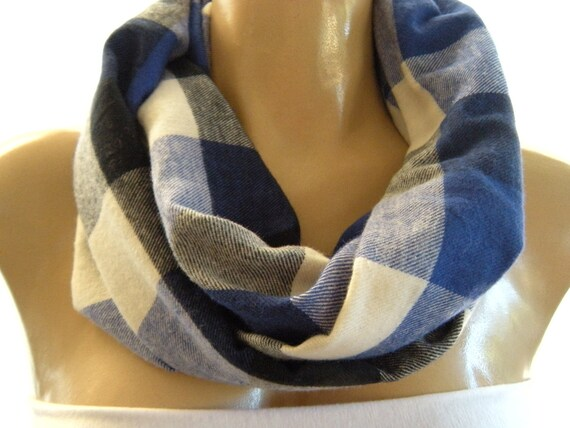 Casual Plaids...Warm Flannel.. Cowl....Black, White ,Cobalt blue  and Gray ..Mobius scarf...Infinity Scarf..