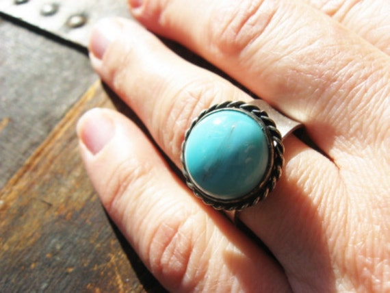 Turquoise and Silver Adjustable Band Ring - Vintage Upcycled Silver and Turquoise Ring - Eco Mother's Day
