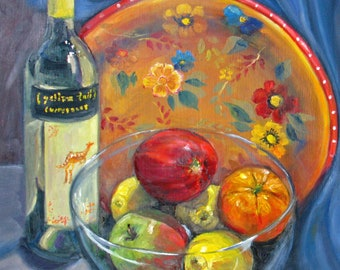 Original Oil painting, realism still life art, wine apple lemon orange still life art, wall decor, impressionism art, Janice Trane Jones