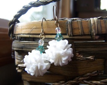 Upcycled Vintage White Snowball with Aqua Crystal Earrings
