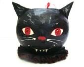 Halloween Papier Mache Candy Bowl - Vintage-style Black Cat