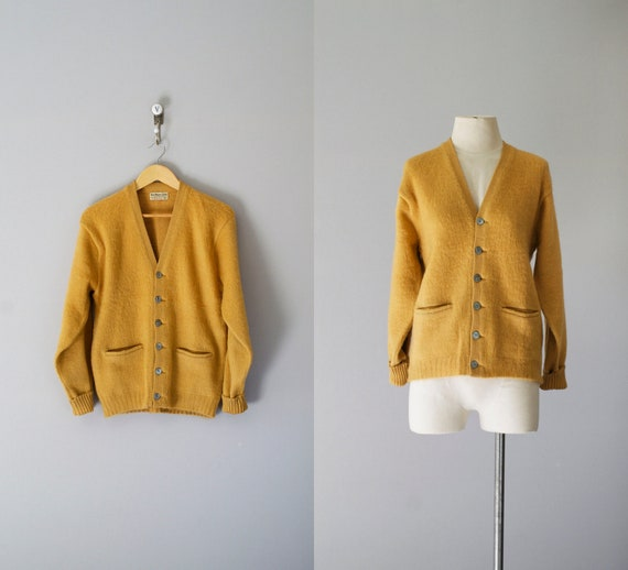 50s sweater / 1950s mohair wool cardigan / Goldenrod sweater