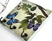 Butterfly Key Hook, Nature Art Key Rack, Summer Green Leaves, Key Holder, Ceramic Tile Wall Hooks, Jewelry Organizer