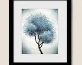 Abstract Tree Print, Living Room Art Blue Wall Decor, Contemporary Modern Art, Nature 8 x 10 Print (110)