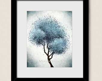 Abstract Tree Print, Living Room Art Blue Wall Decor, Contemporary Modern Art, Nature 8 x 10 Print (110)