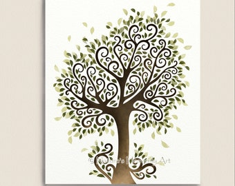 Whimsical Tree Art Print, Nature Wall Decor, Fantasy Watercolor Tree Artwork, Summer Tree, 8 x 10 Print (120)