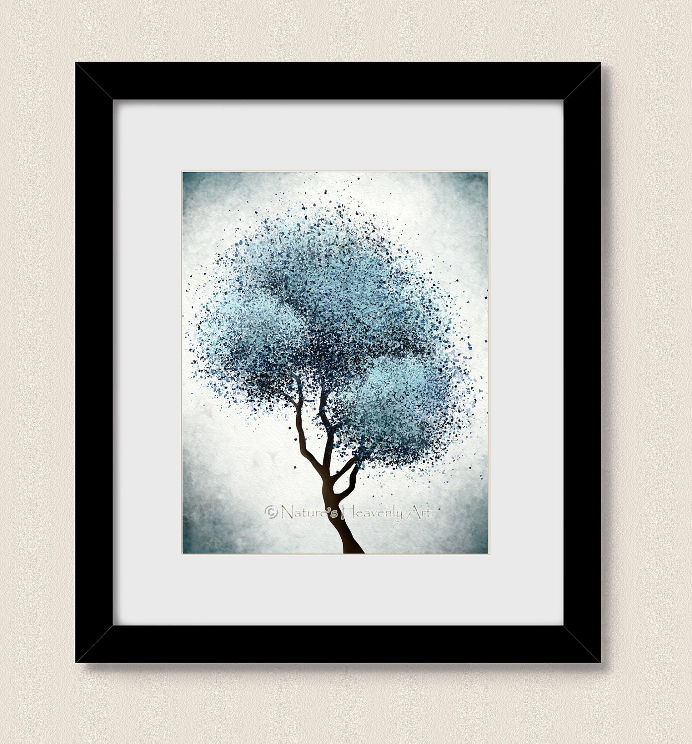 Abstract tree print living room art blue wall decor for Contemporary wall art for living room