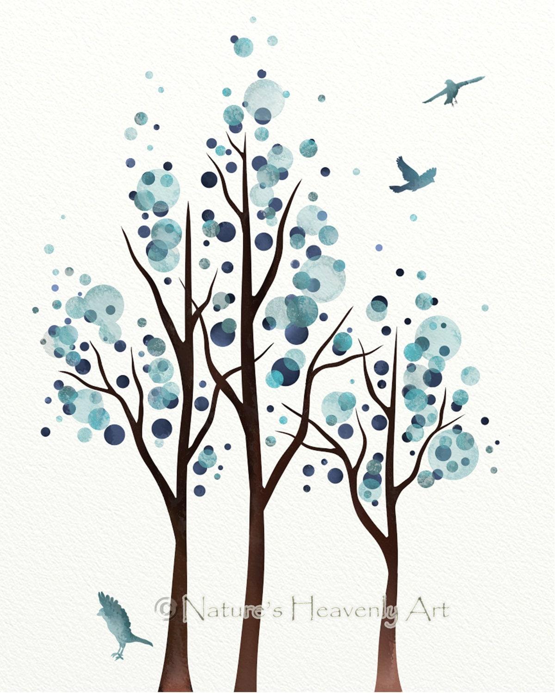 Watercolor tree art blue wall decor polka by for Minimal art journal