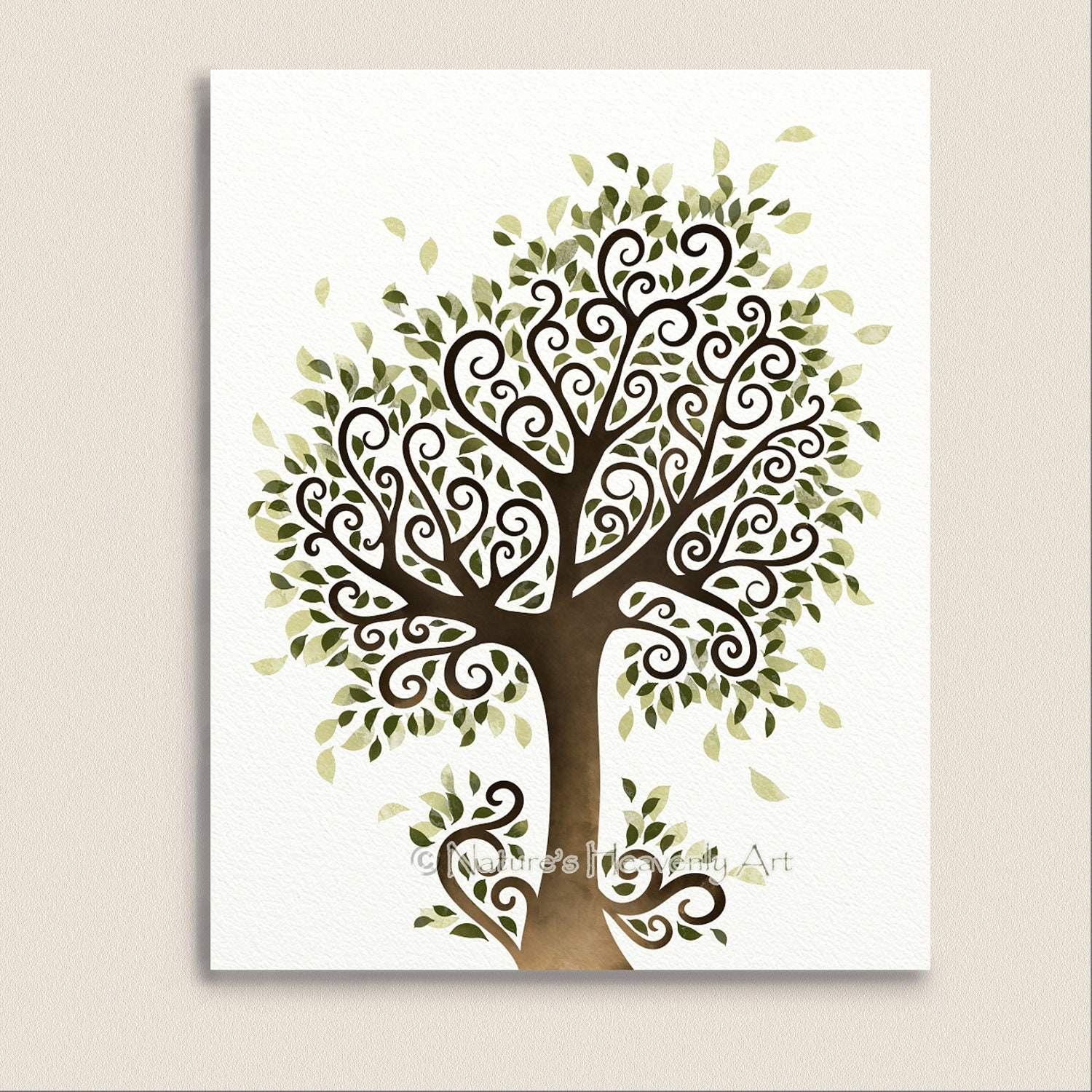 Whimsical tree art print nature wall decor fantasy for Tree wall art