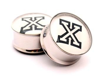 Straightedge X Picture Plugs gauges - 16g, 14g, 12g, 10g, 8g, 6g, 4g, 2g, 0g, 00g, 1/2, 9/16, 5/8, 3/4, 7/8, 1 inch