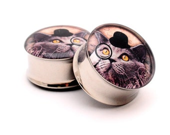 Gentleman Kitty Picture Plugs gauges - 16g, 14g, 12g, 10g, 8g, 6g, 4g, 2g, 0g, 00g, 7/16, 1/2, 9/16, 5/8, 3/4, 7/8, 1 inch