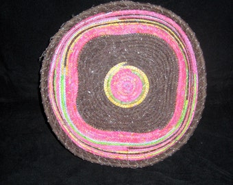 Square, Vibrant Pink and Brown Basket