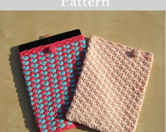 ENGLISH Instructions - Instant Download PDF Crochet Pattern Raspberry and Blue iPad Case