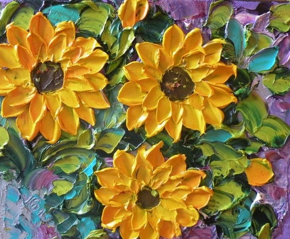 Wall Decor Original  Impasto Oil Painting  Sunflowers Palette Knife