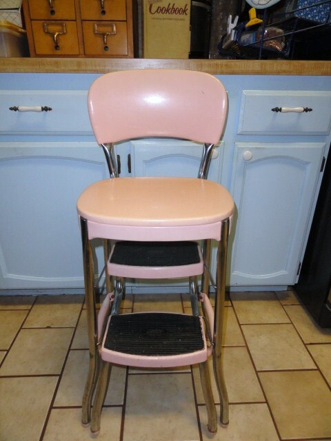 Reserved For Karen Vintage Stool Kitchen Utility Step Pink
