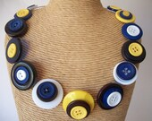 BUTTON Necklace - Blues and yellows - memory wire Button Necklace