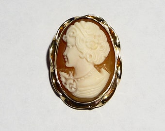 Vintage 14K Gold Filled Carved Shell Cameo Pendant on Etsy