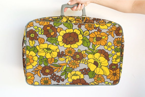 Vintage 1970's Flower Power Suitcase by BANTAM / Overnight Carry on / Grays and Yellows and Browns