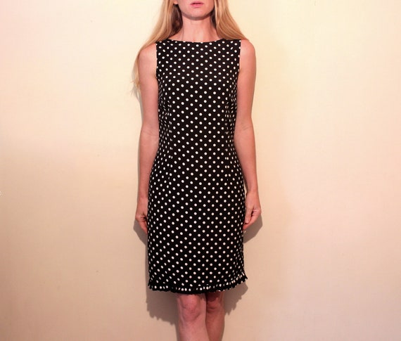 Vintage Black and White Polka Dot Wiggle Dress . 1990s 1980s . Ruffles . Size 10