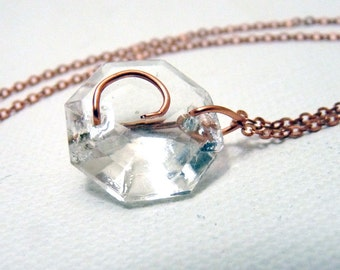 Letter C Crystal Initial Necklace- Copper - small- Upcycled antique chandelier prism pendant- Reclaimed Beauty