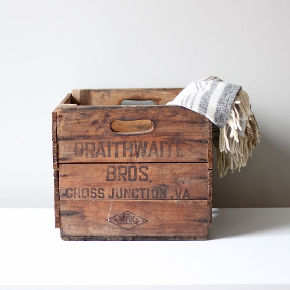 RESERVED rustic wooden harvest crate / industrial box