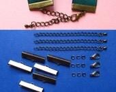 Ribbon Choker or Ribbon Bracelet Findings Kit - Multiple Sizes and Finshes