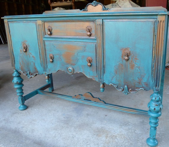 RESERVED Farmhouse Buffet Sideboard Rustic French Poppy Cottage Vintage