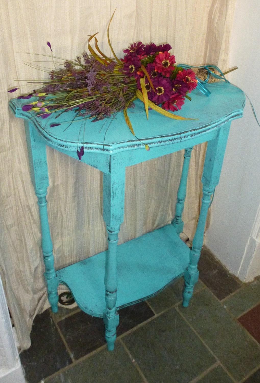 Demi-lune Vintage Primitive Turquoise Painted Furniture Poppy