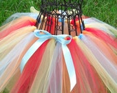 Ni Hao Kai Lan Tutu Skirt--- Blue, Gold, Red, Orange Tutu--- Circus tutu- birthday tutu