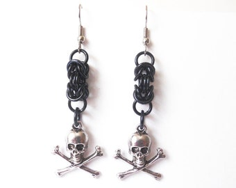 Black skull earrings, Skull and crossbones, Gothic jewelry, Pirate earrings, Chainmaille