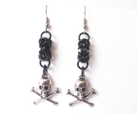 black skull earrings skull and crossbones jewelry
