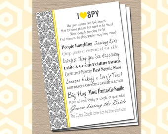 I Spy Wedding Game - Custom Colors - Damask