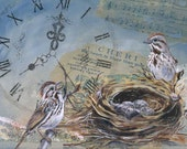 Home Sweet Home, mixed media and collage, birds, nests, blue and brown, music, clock