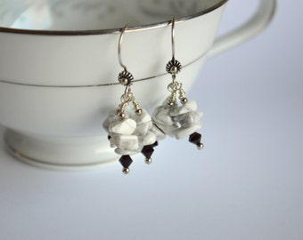 Howlite and crystal sterling silver chandelier earrings