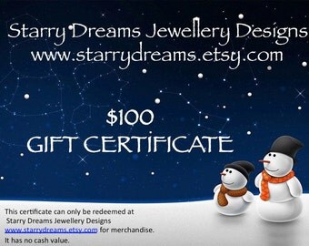 Jewellery Gift Certificate One Hundred Dollars
