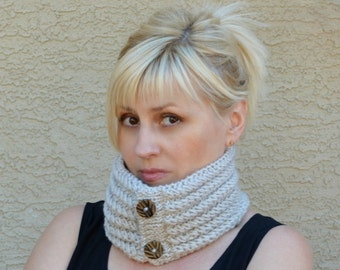 Knit neckwarmer cowl scarf oatmeal gift for her womens gift gift for friend gift under 25 Christmas winter holidays womens accessories