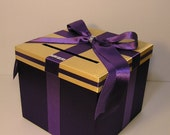 Purple and Gold Wedding  Card Box Gift Card Box  Money Box Holder-Customize your color