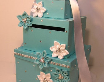 Wedding  Card Box Blue Gift Card Box Money Box Holder.-Special Custom order.Customize your color
