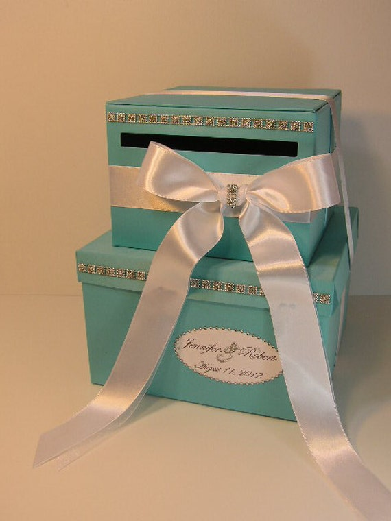 Wedding Gift Box Tiffany Blue : tier Tiffany Blue Wedding Card Box Gift Card Box Money Box Holder ...