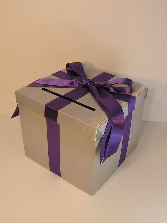 Purple Wedding Gift Card Box : Wedding Card Box Silver /Purple Gift Card Box Money Card Holder ...