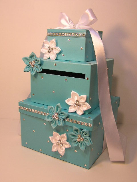 Wedding Gift Box Etsy : Wedding Card Box Blue Gift Card Box Money Box Holder.Special
